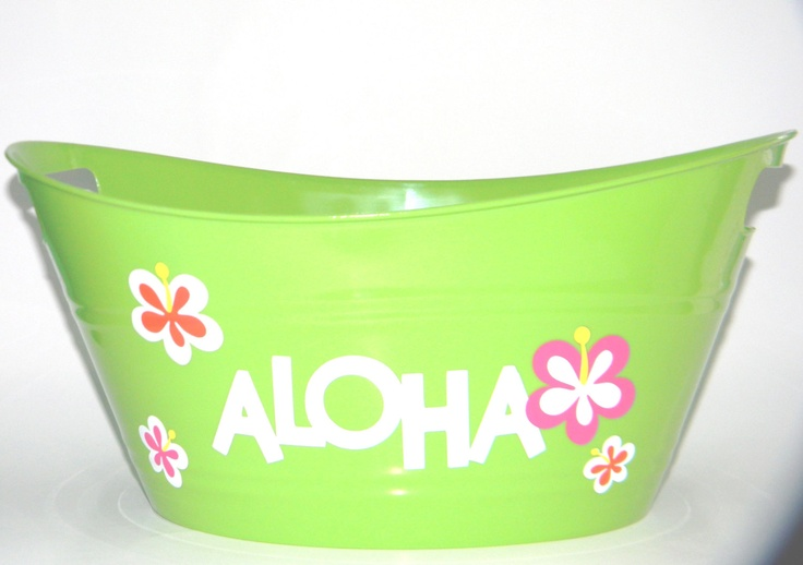 Aloha Party Ice Bucket for Snack,Favors or Drink Storage at Birthdays or Showers. Great Decoration for Luau or Hawaiin Theme. $8.00, via Etsy.