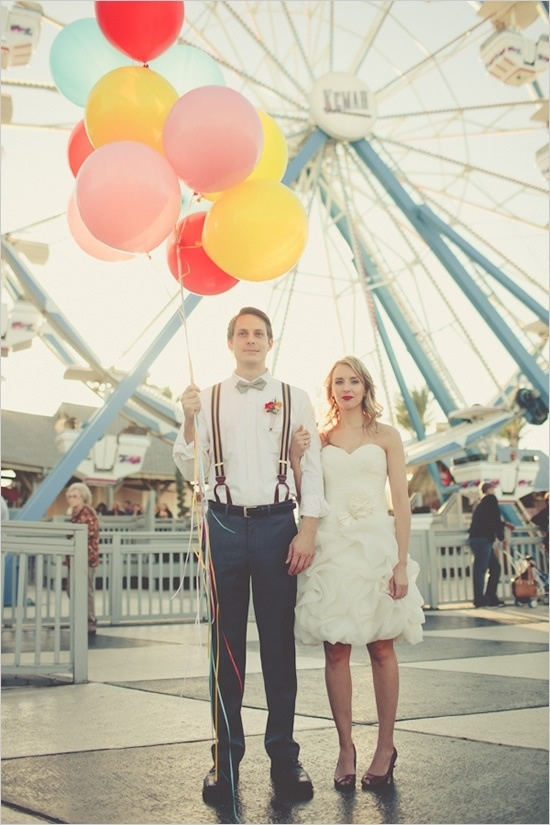 Cute carnival themed engagement photo