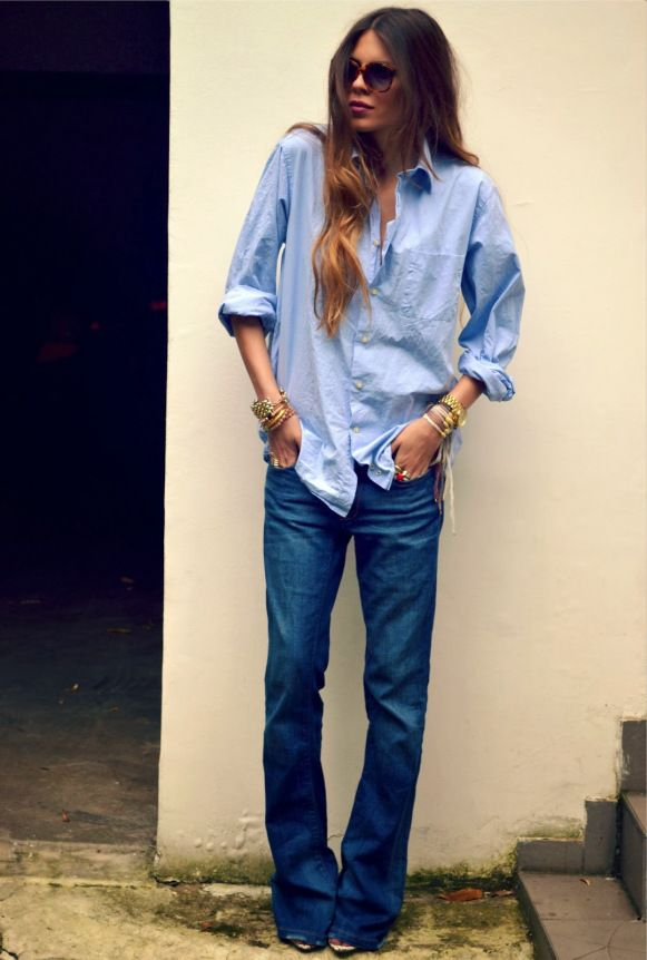 canadian tuxedo with flared jeans