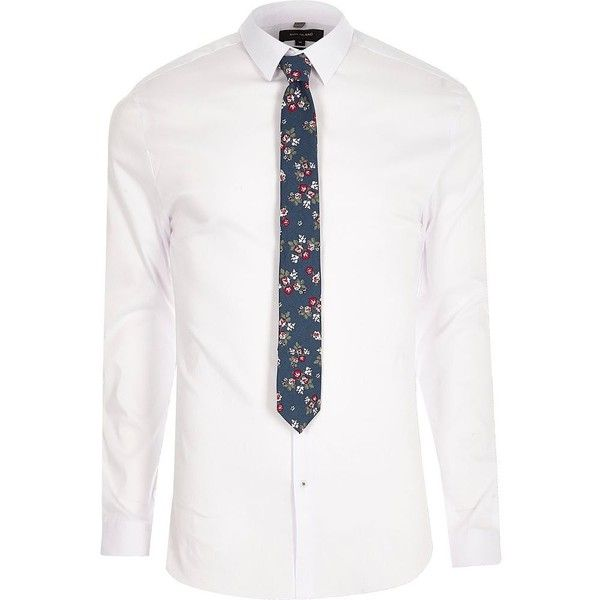 River Island White muscle fit shirt with floral tie (57 BGN) ❤ liked on Polyvore featuring men's fashion, men's clothing, men's shirts, men's casual shirts, shirts, mens button front shirts, mens long sleeve floral shirts, mens long sleeve casual shirts, men's flower print shirt and mens longsleeve shirts