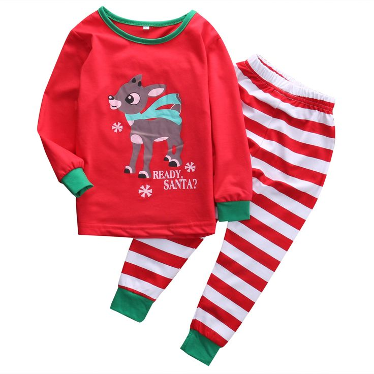2016 Hot 2pcs Set Xmas Christmas Baby Kid Boys Girls Deer Striped Long Sleeve Cotton Nightwear Pajamas Set Sleepwear 1-7 Years #>=#>=#>=#>=#> Click on the pin to check out discount price, color, size, shipping, etc. Save and like it!