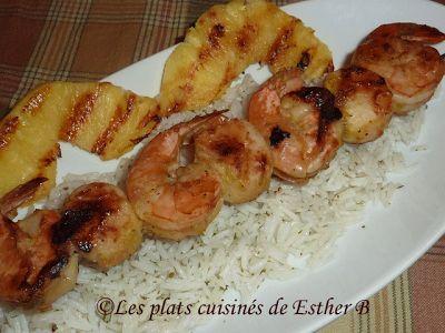 Les plats cuisinés de Esther B: Brochettes de crevettes et de pétoncles à la Jamaïcaine