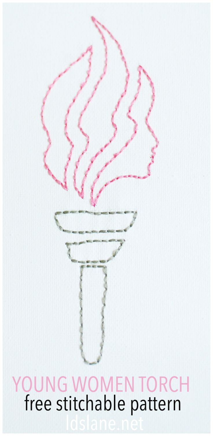 LDS Young Women Torch - free stitching pattern at ldslane.net