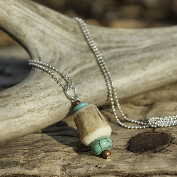 elk tribe antler chunk and turquoise by WomanOnWildMountain, $28.00