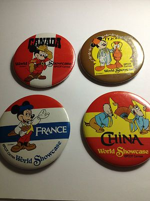 Disney Buttons Lot of 4 World Showcase Canada China France Morocco 1987 Vintage   eBay