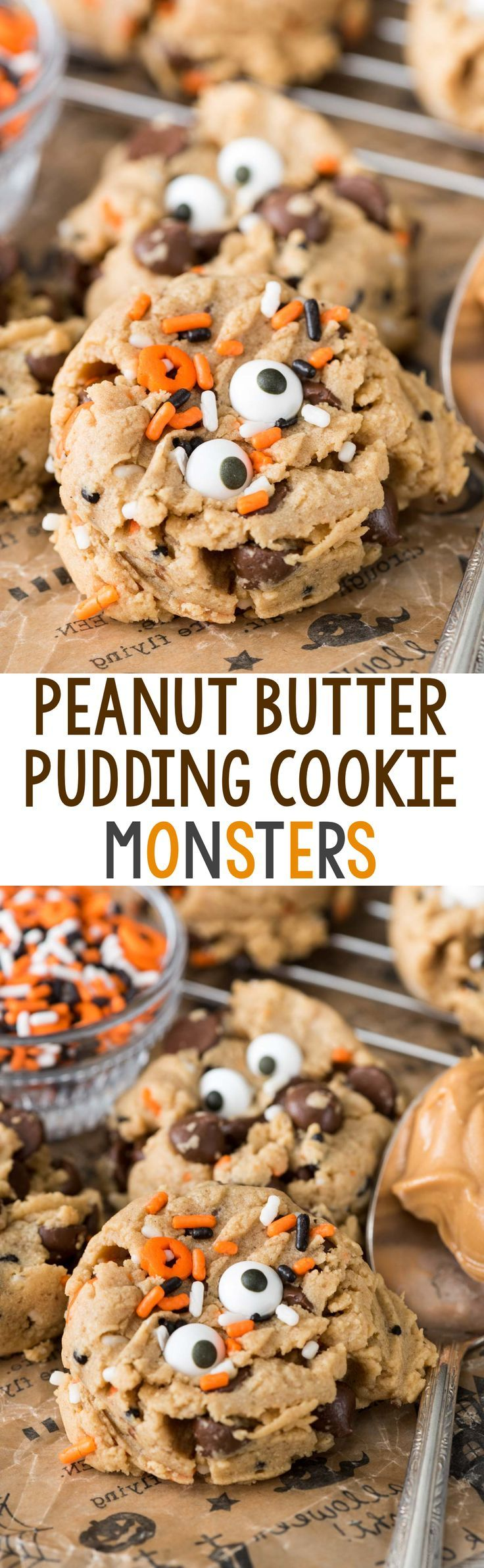 Monster Peanut Butter Pudding Cookies - this easy peanut butter cookie recipe has pudding in the dough so they stay soft for days! Add chocolate chips and a cute monster face for Halloween!