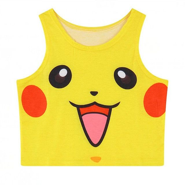 new 2017 summer woman Camisole kawaii Print 3D Pokemon Squirtle Pikachu style women Tank Top Bustier fashion Crop Top