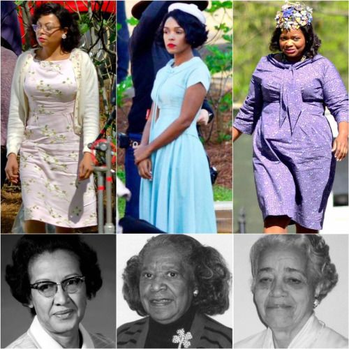 """profeminist: """"""""❤ these photos of Taraji P. Henson, Janelle Monáe and Octavia Spencer dressed as their characters in Fox 2000's """"Hidden Figures""""! In the film, which will tell the true story of the African American women mathematicians who were behind..."""