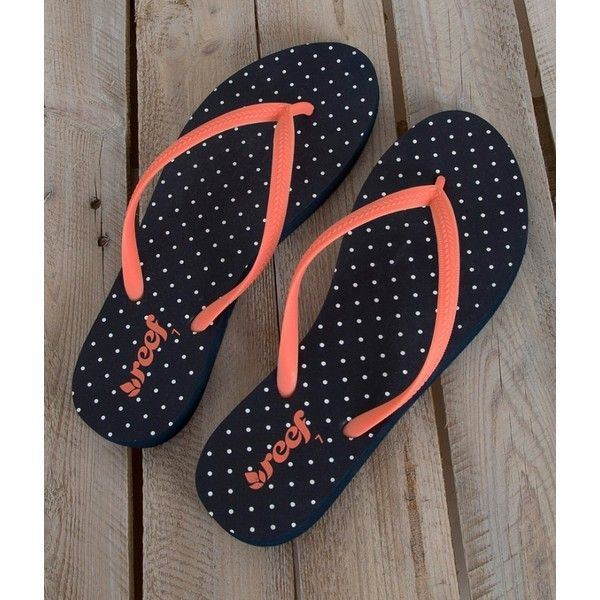 Reef Charkras Flip (2445 ALL) ❤ liked on Polyvore featuring shoes, sandals, flip flops, reef sandals, polka dot sandals, flip-flop sandals and reef footwear