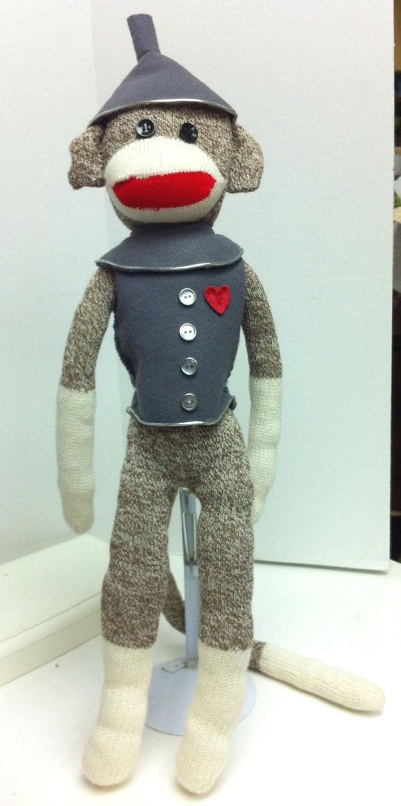 Hey, I found this really awesome Etsy listing at https://www.etsy.com/listing/207527102/sock-monkey-in-tin-man-with-heart-wizard