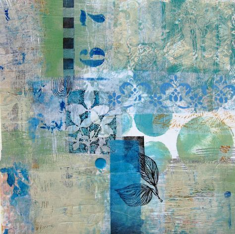 In the Valley...monotype ,collage,ink...judy thorley