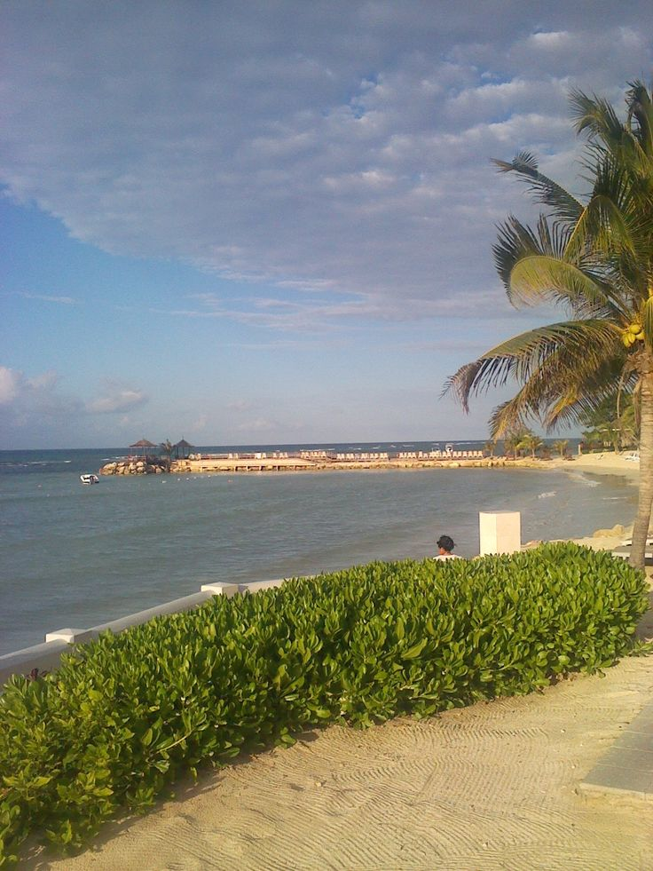 This is the beach in Montego Bay, Jamaica. This is the view of the beautiful water and pier