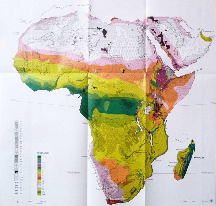 1970 Carte Afrique Physique Végétation Géomorphologie Madagascar Grand Format de la boutique sofrenchvintage sur Etsy
