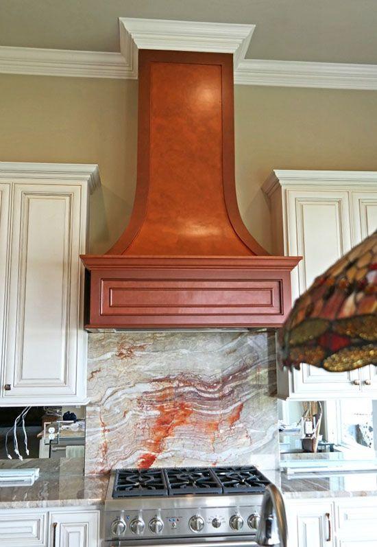 Copper Metallic Paint Finish on Kitchen Range Hood by