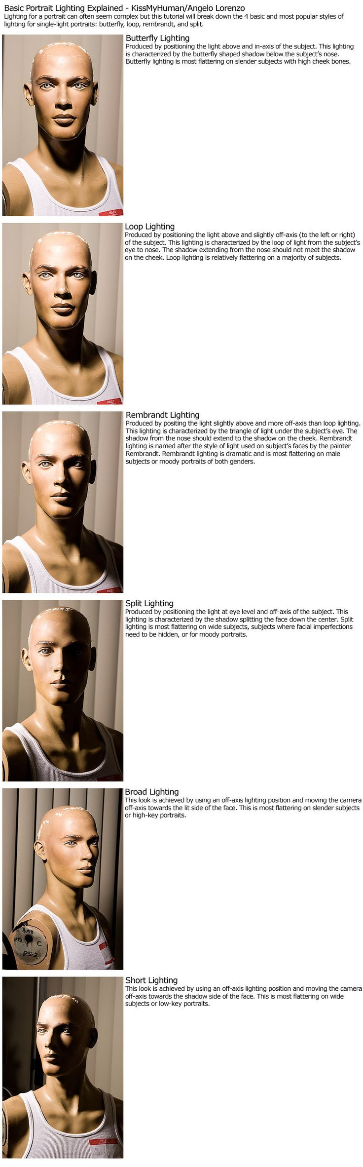 Basic portrait lighting guide explaining the four main styles of lighting: butterfly, loop, rembrandt, and split. Read this journal for a bit more advanced stuff: Edit: Aw, thanks to ^znow-white fo...