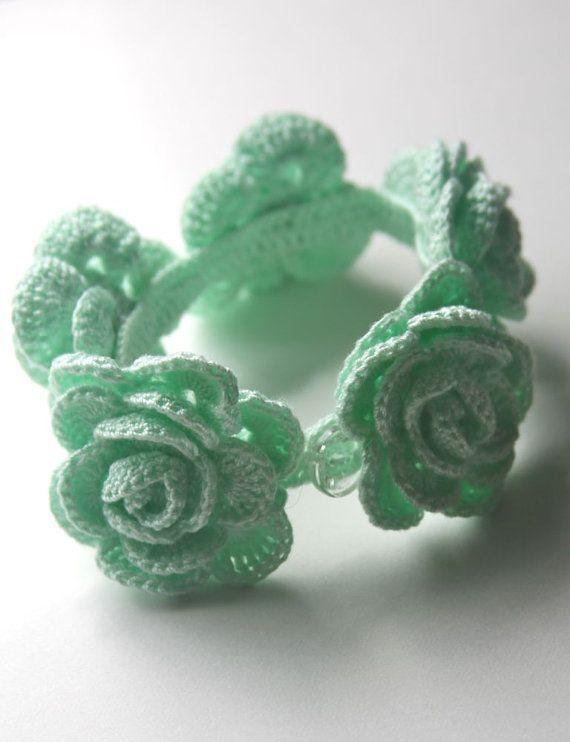 Mint Roses Crocheted Bracelet by mygiantstrawberry on Etsy