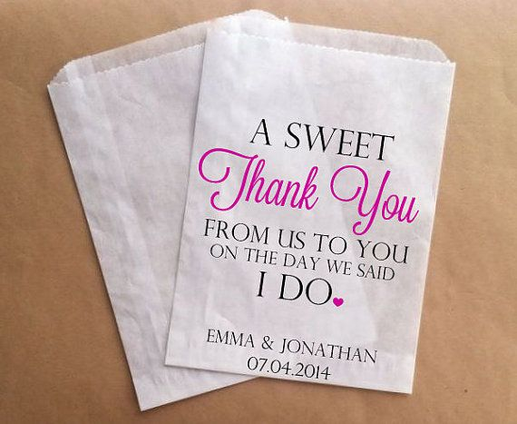 Personalised Wedding Gifts For Guests: Thank You Wedding Favors Bags Custom Candy Buffet Bags