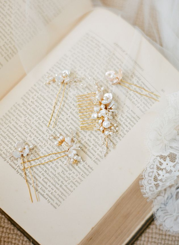 Pearl and gold hair pins by Percy Handmade Bridal Accessories | Bridal Musings Wedding Blog