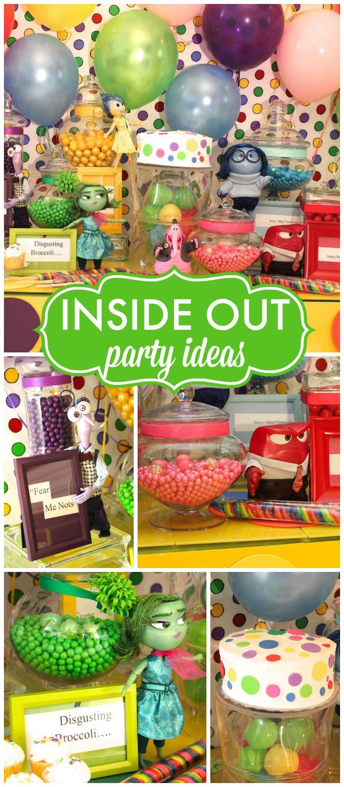 How fun is this Inside Out birthday party? So colorful! See more party ideas at CatchMyParty.com!