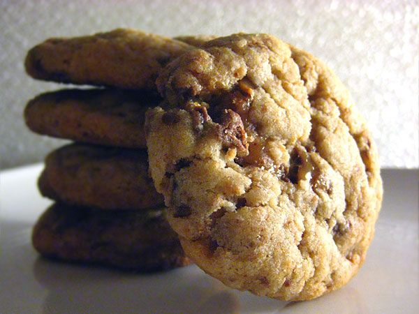 Heath Bar Cookies -just made these- New favorite! Used the chocolate covered heath toffee bits rather than the plain... chocolate chip cookies don't have nothin on these!
