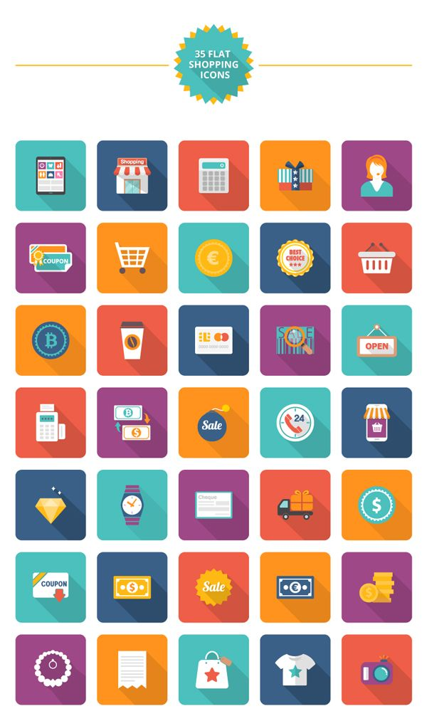Free Download : 35 Flat Shopping Icons