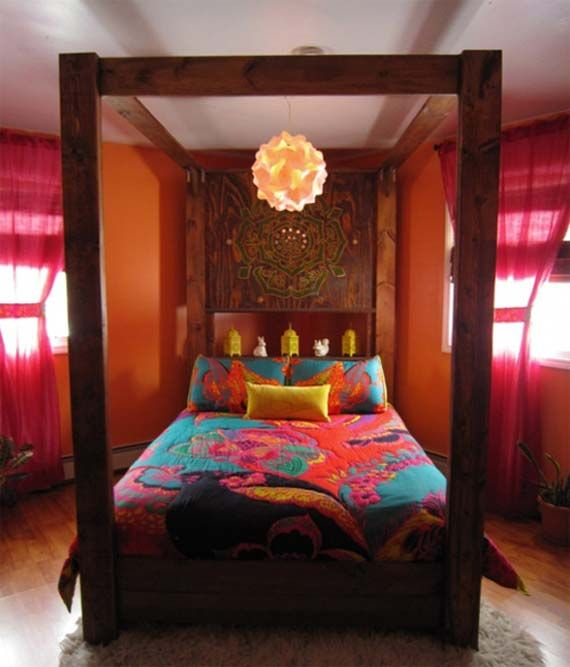 amazing bohemian bedroom decor ideas with wooden canopy bed design with chic pink curtain as well as orange wall paint color scheme - Orange Canopy Decorating