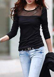 Casual Style Scoop Neck Long Sleeve Spliced Slimming T-Shirt For Women (BLACK,M) | Sammydress.com Mobile