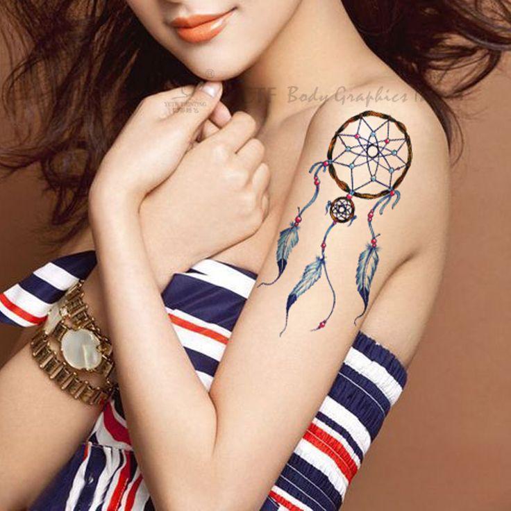 Временные татуировки наклейки-водонепроницаемый высокое качество поддельные передаче как искусство индийский ловец снов дизайн тату