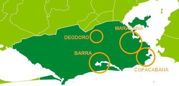 Map Rio de Janeiro Summer Olympics 2016 - Event Zones