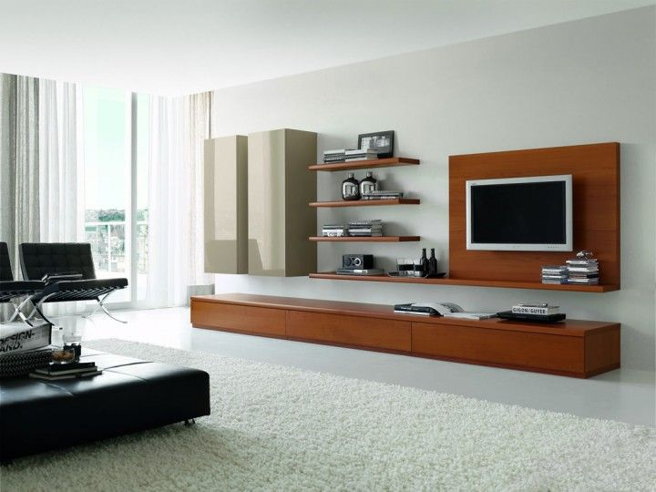 Furniture. Elegant Wall Unit Design Ideas with Wood Material. Light Brown And Grey Color Scheme Wood Materials Elegant Wall Units With Minimalist Four Levels Wall Shelving Space Also Side Space Rectangle Shaped Double Cabinet Furniture And Simple Wall Mounted LED TV.