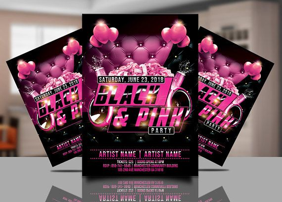 Pink Birthday Party Invitation Pink And Black Invitations Pink