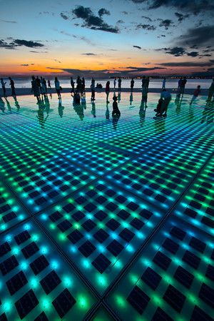 The Sun Salutation, Zadar, Croatia. The photovoltaic cells charge all day and at sunset put on a fantastic light show.