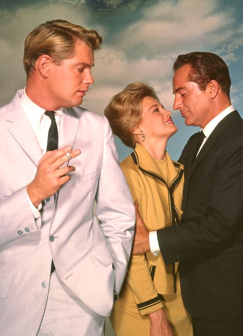 """"""" Troy Donahue, Angie Dickinson and Rossano Brazzi in Rome Adventure (1962) now available on Warner Archive Instant """""""