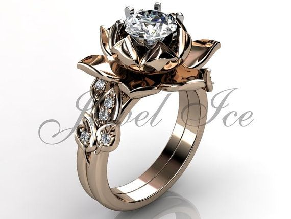 14k rose gold diamond unusual lotus flower engagement ring, bridal set, wedding ring, flower engagement set, anniversary ring by Jewelice