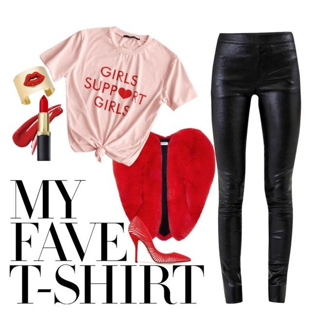 """""""My Fave T-Shirt"""" by christine-e-clements ❤ liked on Polyvore featuring Yves Saint Laurent, Helmut Lang, Paul Andrew, Thalia Sodi and MyFaveTshirt"""