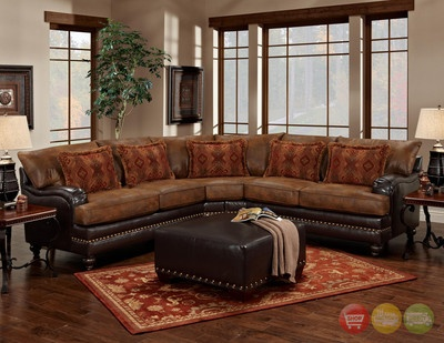 Tobacco Brown Traditional Sectional Sofa w/ Nailhead Accents u0026 Pillows | Traditional Pillows and Loveseats : traditional sectional sofas - Sectionals, Sofas & Couches