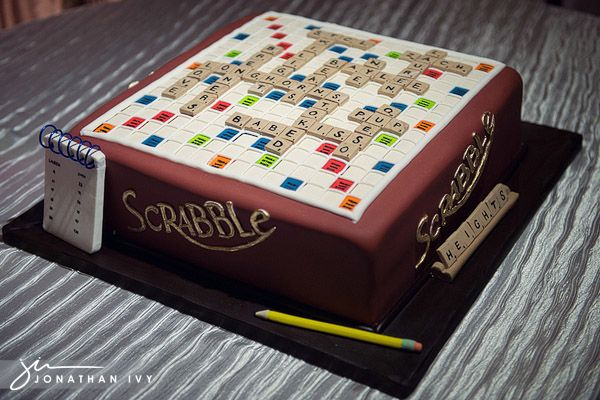 Scrabble wedding cake