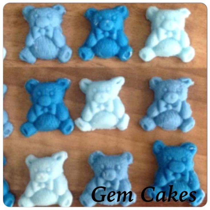 Edible baby Shower christening Blue bears cupcake toppers decorations for Boys