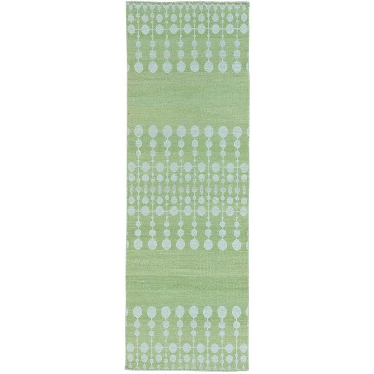 "1800getarug Green Flat Weave Hand Woven Reversible Kilim Runner Rug (2'8 x 8') (Exact Size: 2'8"" x 8'0""), Size 3' x 8' (Wool, Oriental)"