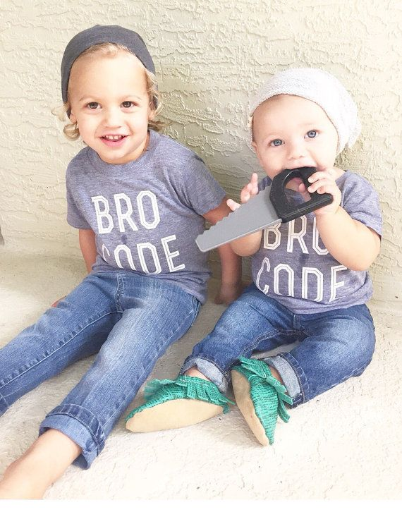 BRO CODE Graphic Tee Baby Boys. Statement grey by LittleBeansCo