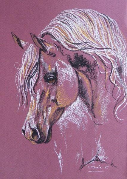 ARABIAN HORSE PORTRAIT Gentleness 47 ORIGINAL pastel drawing equestrian art #Realism