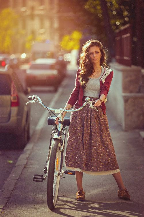 modest fashion. Lace hem floral midi skirt, grey top, lace trim burgundy cardigan,  brown flats and brown belt