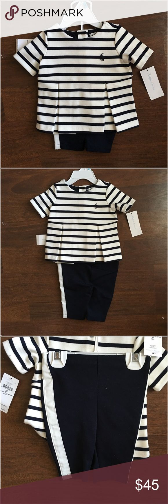 RALPH LAUREN PANT SUIT SET 6 MONTHS This elegant little pant set is so adorable never been worn new with tags navy and white Ralph Lauren Matching Sets