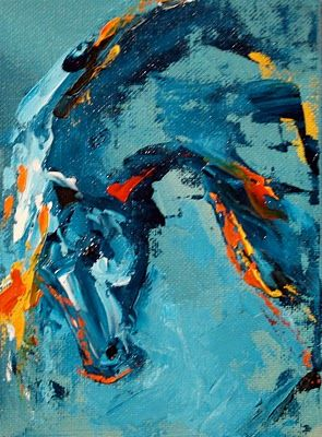 Bow to the Night' Equine Abstract Art Horse Painting by Texas Artist Laurie Pace