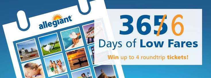 Tell Allegiant which sunny Allegiant destination you want to spend your extra day in this year and be entered to win one of 29 prizes!