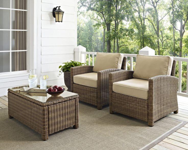 Crosley Bradenton 2PC Outdoor Wicker Seating Set W/ Sand Cushions
