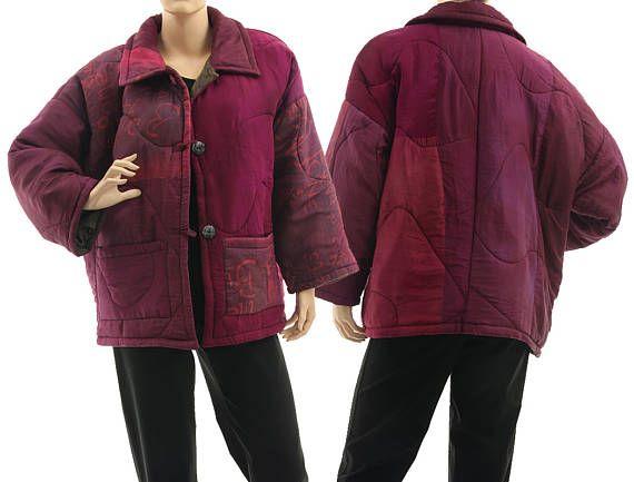 Boho silk jacket in berry spring summer fall patchwork silk