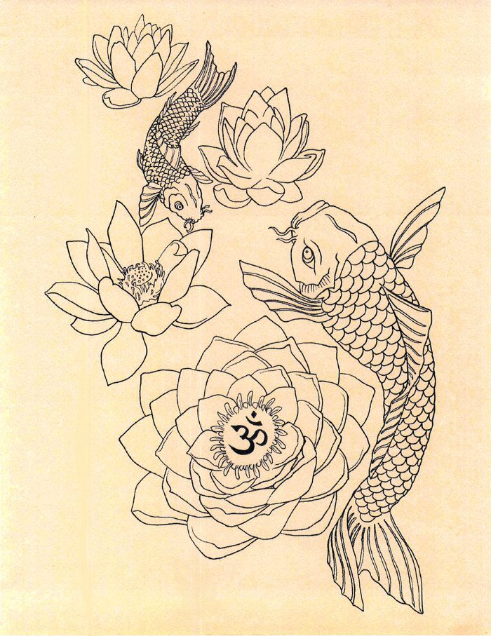 japanese fish om lotus tattoo drawing art print by geniemelisande tattoos pinterest tattoo. Black Bedroom Furniture Sets. Home Design Ideas
