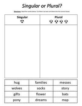 Nouns: Singular or Plural? Cut & Paste. Includes 4 cut & paste worksheets. Students read the nouns and then sort them into the correct column based on if they are singular or plural.  Want more plural noun activities? Check out my Plural Nouns Activity Pack here: https://www.teacherspayteachers.com/Product/Plural-Nouns-Activity-Pack-2462217