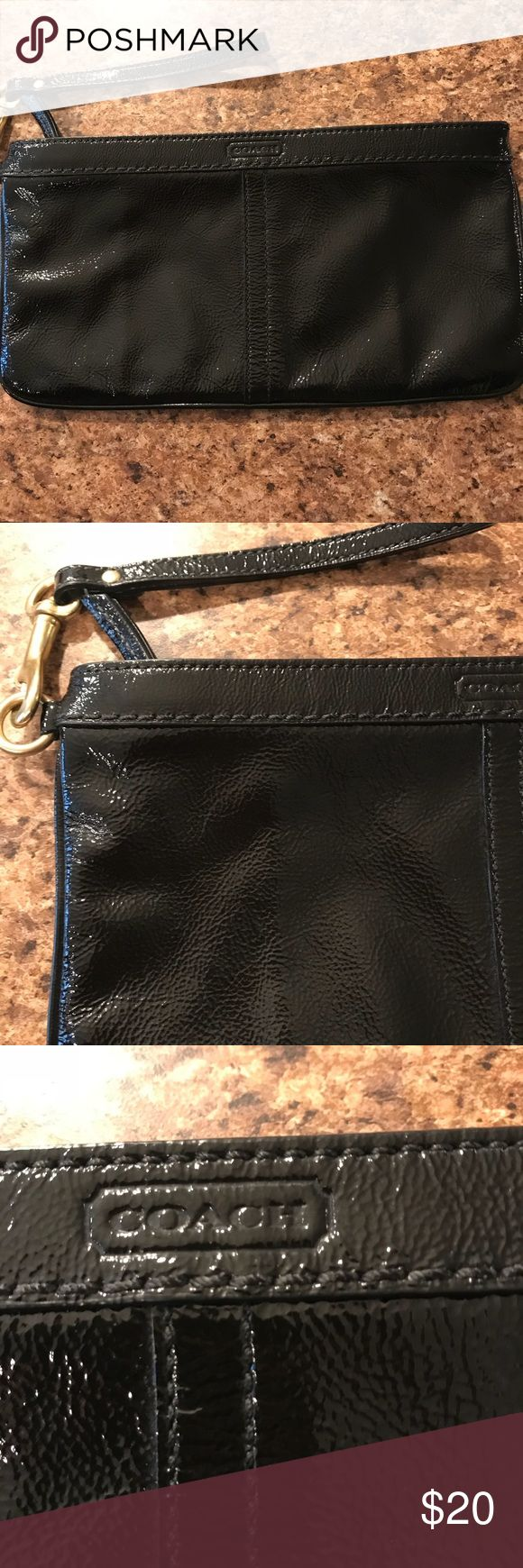 Black Coach Wristlet Excellent condition! Black Coach Wristlet. Perfect size to carry small wallet and phone for a night out! Coach Bags Clutches & Wristlets